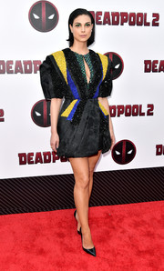 Morena Baccarin looked party-ready in a black Dice Kayek Couture mini dress with multicolored beading at the New York screening of 'Deadpool 2.'