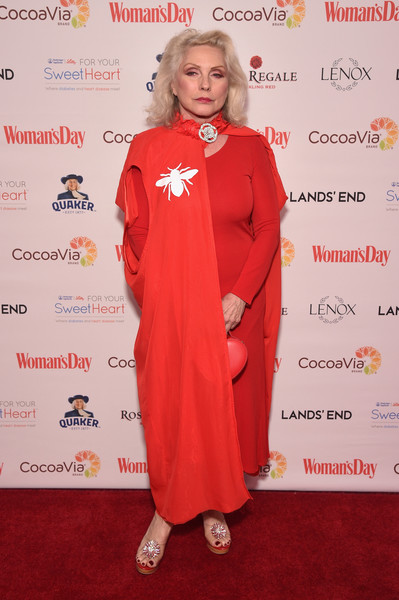 Debbie Harry Cape [womans day,clothing,red,carpet,red carpet,outerwear,costume,premiere,flooring,debbie harry,red dress awards,new york city]