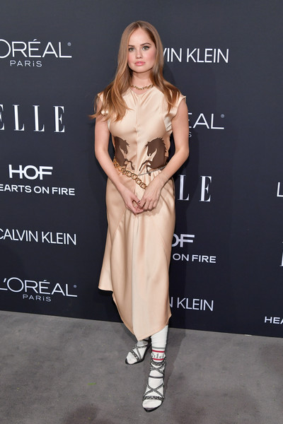 Debby Ryan Strappy Sandals [elle,hearts on fire,loreal paris,red carpet,fashion model,clothing,dress,fashion,hairstyle,shoulder,cocktail dress,footwear,carpet,fashion design,los angeles,beverly hills,california,25th annual women in hollywood celebration,calvin klein,debby ryan]