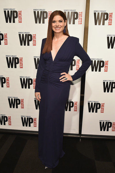 Debra Messing Form-Fitting Dress [clothing,dress,carpet,red carpet,premiere,award,event,flooring,little black dress,long hair,debra messing,wp theater,the edison ballroom,new york city,gala]
