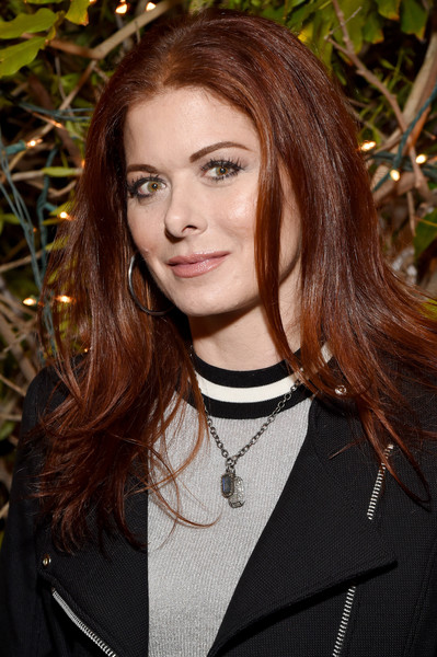 Debra Messing Long Center Part [gersh emmy party,hair,face,hairstyle,eyebrow,beauty,lip,brown hair,long hair,layered hair,blond,california,los angeles,tequila don julio,debra messing]