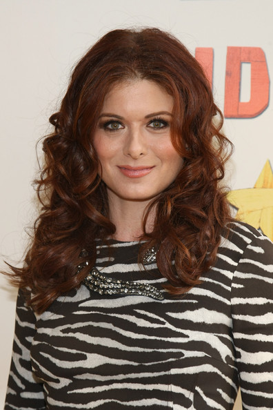 Debra Messing Long Curls [peter and the starcatcher,hair,face,hairstyle,eyebrow,brown hair,layered hair,chin,long hair,lip,hair coloring,debra messing,curtain call,the brooks atkinson theatre,new york city,broadway,opening night of peter and the starcatcher on broadway - arrivals]