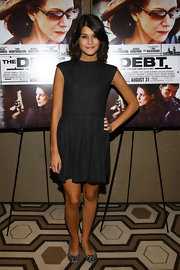 Sofia Black-D'Elia opted for a fit and flare LBD for the screening of 'The Debt.' She finished off the look with a pair of animal print flats.