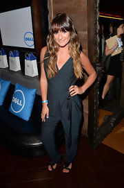 Lea Michele opted for a cool and contemporary look when she sported this sleeveless blue jumpsuit.