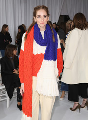 Chiara Ferragni matched her sweater with a color-block knit scarf for the Delpozo Fall 2016 show.