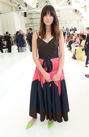 Caitriona Balfe looked charming in a spaghetti-strap color-block dress by Delpozo during the brand's fashion show.