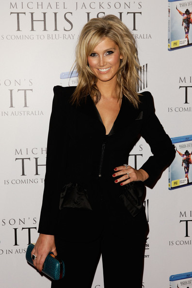 Delta Goodrem Medium Layered Cut [this is it,dvd release,documentary,hairstyle,suit,fashion,blond,long hair,formal wear,pantsuit,premiere,white-collar worker,outerwear,tribute party,delta goodrem,michael jackson,city recital hall,australia,show,vip tribute]