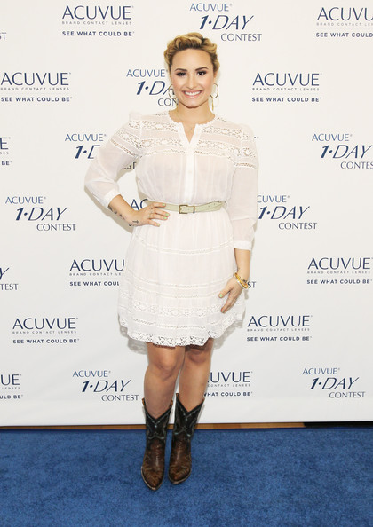 Demi Lovato Cowboy Boots [clothing,dress,cocktail dress,footwear,fashion,shoulder,joint,hairstyle,fashion model,leg,demi lovato,teens,dream,acuvue 1,west hollywood,california,acuvue,event,event]