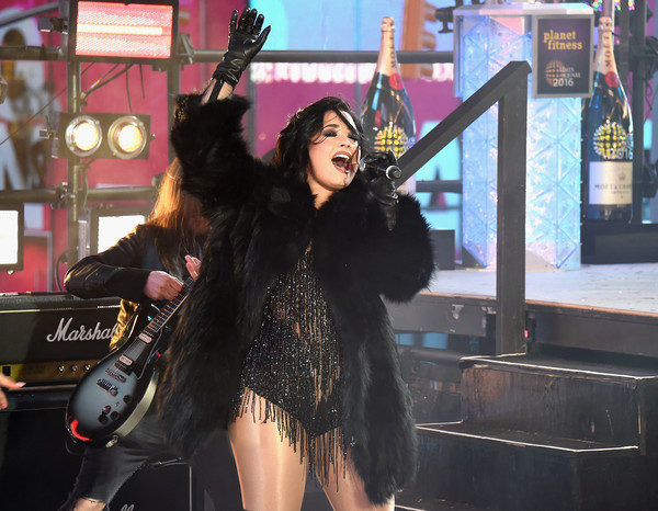Demi Lovato Leather Gloves [cool for the summer,black hair,performance,fun,event,long hair,demi lovato,dick clarks new years rockin eve with ryan seacrest,medley,stage,times square,new york city]