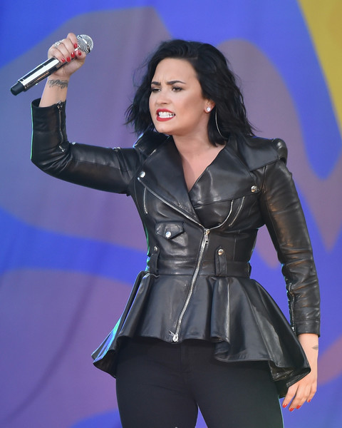 Demi Lovato Red Nail Polish [good morning america,performance,music artist,singer,lady,leather,jacket,performing arts,leather jacket,singing,event,demi lovato,summerstage,new york city,central park,rumsey playfield,abc]