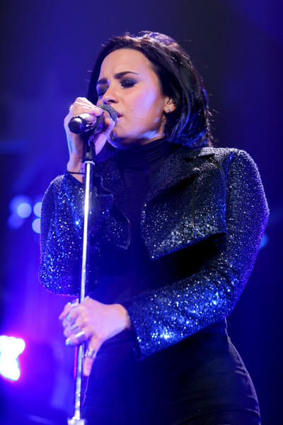 Demi Lovato Cropped Jacket [performance,entertainment,music artist,performing arts,singing,singer,song,music,stage,event,demi lovato,minnesota,st paul,xcel energy center,kdwb,jingle ball 2015 - show]