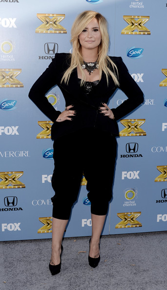 Demi Lovato Fitted Jacket [the x factor,season,clothing,blond,cobalt blue,yellow,little black dress,dress,electric blue,hairstyle,footwear,carpet,demi lovato,west hollywood,california,ciccone restaurant,fox,premiere party,premiere party]