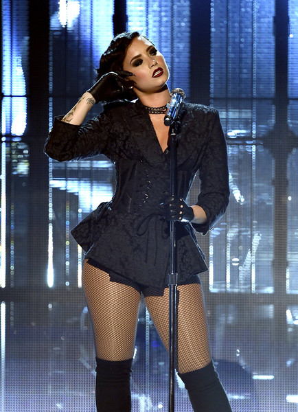 Demi Lovato Fitted Jacket [performance,thigh,clothing,leg,fashion,lady,fashion model,performing arts,singing,music artist,demi lovato,american music awards,microsoft theater,los angeles,california,show]