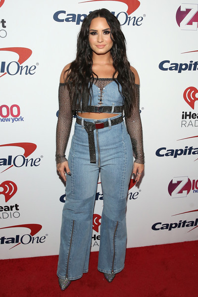 Demi Lovato Crop Top [jingle ball 2017 - press room,photo,clothing,denim,jeans,carpet,shoulder,red carpet,fashion,long hair,waist,premiere,demi lovato,monica schipper,caption,iheartmedia,press room,new york city,z100,jingle ball 2017]