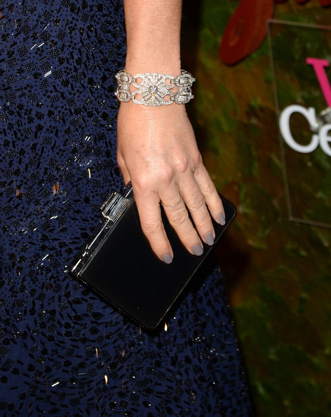 Demi Moore Box Clutch [fashion,nail,bracelet,jewellery,bangle,fashion accessory,finger,hand,joint,ring,salvatore ferragamo,demi moore,jewelry detail,wallis annenberg center for the performing arts inaugural gala,beverly hills,california,wallis annenberg center for the performing arts inaugural gala,red carpet]
