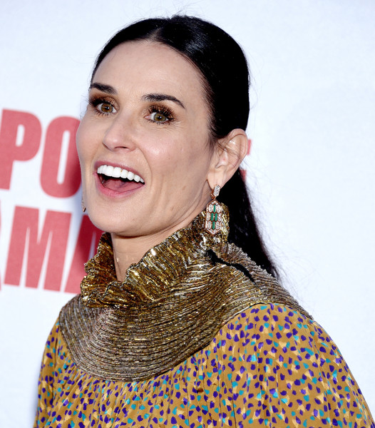Demi Moore Dangling Diamond Earrings [la premiere of screen media film,lip,neck,fashion accessory,jewellery,arrivals,demi moore,animals,california,hollywood,neuehouse los angeles]