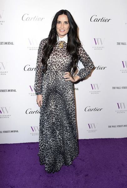 Demi Moore Print Dress [clothing,dress,fashion,hairstyle,red carpet,long hair,carpet,fashion design,flooring,fashion model,visionary women honors,beverly hills,california,demi moore in celebration of international womens day,demi moore]