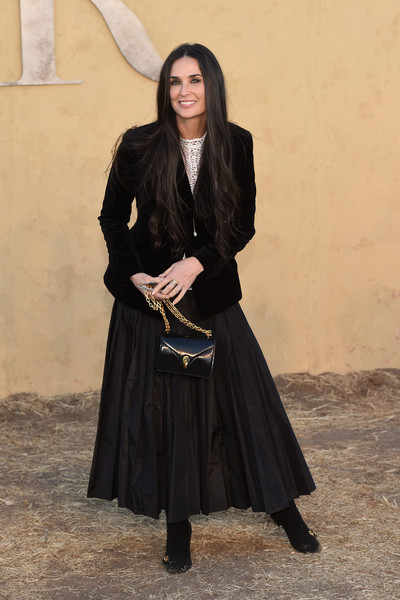 Demi Moore Chain Strap Bag [christian dior cruise 2018 runway show,cruise collection,photo,fashion,outerwear,demi moore,maria grazia chiuri,chris delmas,upper las virgenes canyon,calabasas,dior,show]