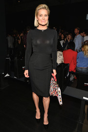 Yolanda Hadid punctuated her dark ensemble with a multicolored Fendi tote.