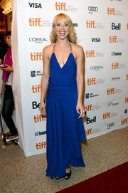 Collette Wolfe looked breezy in a cobalt halter dress with a revealing neckline at the premiere of 'The Devil's Knot.'