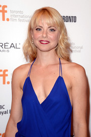 Collette Wolfe's red lipstick provided a nice color contrast to her cobalt dress at the premiere of 'The Devil's Knot.'