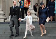 Sophie Countess of Wessex's nude platform pumps gave her some height but remained subdued for the royal affair.