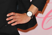 Delphine Chaneac wore a simple leather-strapped timepiece at the premiere of 'Diamonds Are Girls Best Friend.'