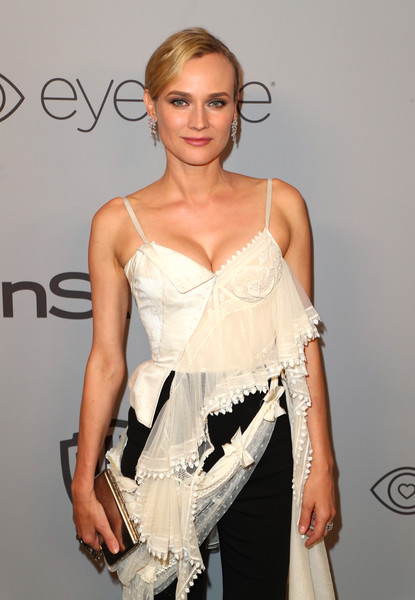 Diane Kruger Metallic Clutch [clothing,shoulder,fashion model,hairstyle,fashion,dress,waist,joint,cocktail dress,fashion design,diane kruger,beverly hills,california,the beverly hilton hotel,instyle,red carpet,warner bros. 75th annual golden globe awards,warner bros. 75th annual golden globe awards post-party]
