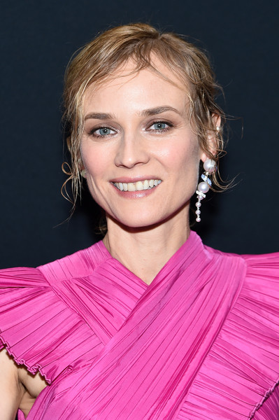 Diane Kruger Dangling Pearl Earrings [hair,face,hairstyle,blond,eyebrow,chin,beauty,shoulder,lip,pink,thelma louise women in motion screening,diane kruger,screening,new york city,museum of modern art,diane kruger,thelma louise,the museum of modern art,actor,celebrity,photograph,model]
