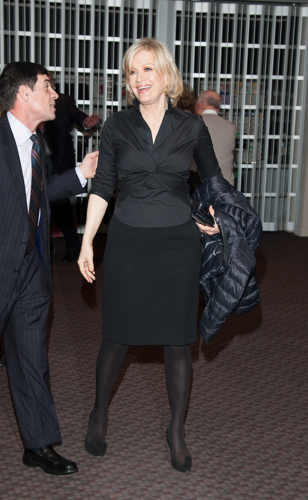 Diane Sawyer Sported An All Black Ensemble Consisting Of A Ed Blouse