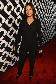 Rosario Dawson was low-key yet classic in a long-sleeve black jumpsuit by Diane von Furstenberg during the Journey of a Dress exhibition opening.