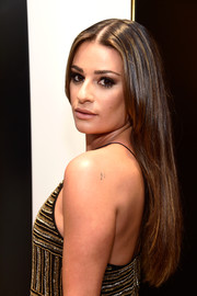 Lea Michele wore her hair loose and sleek-straight during a National Multiple Sclerosis Society event.