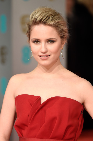 Dianna Agron Loose Bun [hair,shoulder,hairstyle,beauty,lip,skin,blond,dress,red,eyebrow,dianna agron,ee,england,london,the royal opera house,red carpet arrivals,british academy film awards]