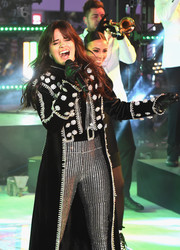 Camila Cabello accessorized with black leather gloves for extra warmth and edge during Dick Clark's New Year's Rockin' Eve.
