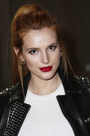 Bella Thorne sported a retro ponytail at the Diesel Black Gold fashion show.