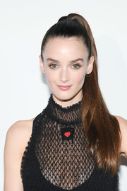 Charlotte Le Bon looked cute and youthful wearing this high ponytail at the Dior dinner during Cannes.