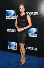 Amy Robach was rocker-chic in a sleeveless leather LBD during the DirecTV Super Saturday Night.
