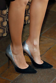 Ombre doesn't just have to be on your hair, Thandie Newton showed with these silver and black ombre pumps.