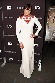 Paula Patton chose a long-sleeve white gown with an embellished neckline for her look at the 'Disconnect' screening in NYC.