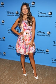 Chloe Bennet got flirty and girly with this multi colored A-line frock at the 2013 Summer TCA Tour.