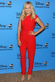 Malin Akerman brought out bombshell red with this one-shoulder jumpsuit.