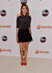 Camilla Luddington completed her playful outfit with a pair of nautical-style shorts.