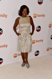 Viola Davis attended the Disney Group's Summer TCA Press Tour looking chic in a black-and-white print dress.