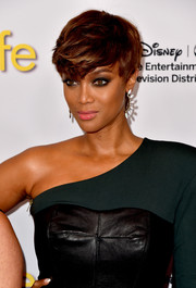 Tyra Banks attended the Disney Group's Summer TCA Press Tour rocking emo bangs.