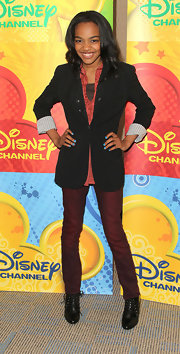 China Anne McClain's wore a grown-up ensemble including a blazer, skinny pants, and lace-up booties.
