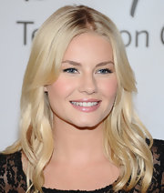 Elisha Cuthbert flashed a smile at the TCA Summer Press Tour in a demure nude lipstick.