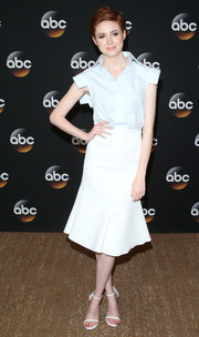 Karen Gillan chose a baby-blue Ellery blouse with unique sleeves for the TCA Summer Press Tour.