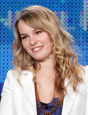 Bridgit Mendler styled her hair in tight curls for the 'Winter Press Tour' Panels.