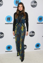 Lake Bell layered a printed teal jumpsuit over a black turtleneck for the Disney ABC Television TCA Winter Press Tour.