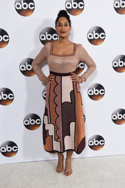 Tracee Ellis Ross donned a metallic knit top by Roksanda for the Disney ABC Television Group Winter TCA Tour.